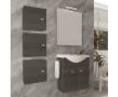 Caesaroo Mobile bagno sospeso 55 cm Holly in legno Rovere Scuro con Lavabo in ceramica Rovere scuro - Con specchio e lampada LED - 55 cm