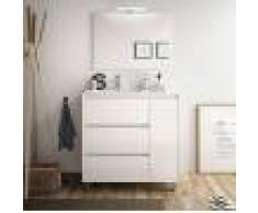 Caesaroo Mobile bagno a terra 85 cm in legno laccato Bianco lucido con lavabo in porcellana Con colonna, specchio e lampada LED