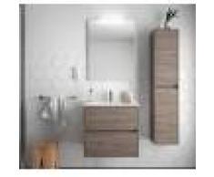 Caesaroo Mobile bagno sospeso 70 cm in legno Rovere eternity con lavabo in porcellana 70 cm - Con specchio e lampada LED