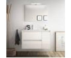 Caesaroo Mobile bagno sospeso 85 cm in legno laccato bianco lucido con lavabo in porcellana Con Doppia colonna, Specchio e Lampada Led