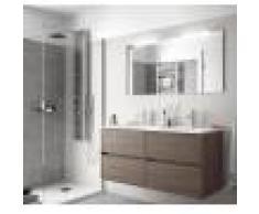 Caesaroo Mobile bagno sospeso 120 cm in legno Rovere eternity con lavabo in porcellana Con Specchio, Doppia colonna e Doppia lampada LED
