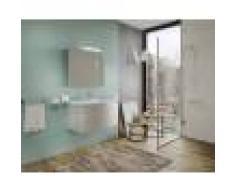 Caesaroo Mobile bagno sospeso 100 cm Venere colore Legno Nordico con Lavabo in ceramica e specchio Con specchio e lampada LED