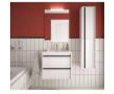 Caesaroo Mobile bagno sospeso 60 cm Nevada in legno Bianco lucido con lavabo in porcellana 60 cm - Con Doppia colonna, Specchio e Lampada Led