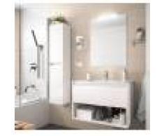 Caesaroo Mobile bagno sospeso 100 cm in legno Bianco lucido con un cassetto ed un vano 100 cm - Con Doppia colonna, Specchio e Lampada Led