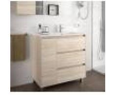 Caesaroo Mobile bagno a terra 85 cm in legno marrone Caledonia con lavabo a destra Con colonna, specchio e lampada LED