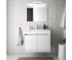 Caesaroo Mobile bagno sospeso 70 cm in legno laccato Bianco lucido con due ante Con specchio e lampada LED