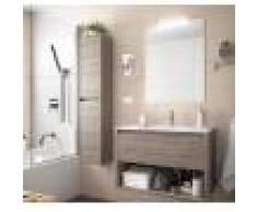 Caesaroo Mobile bagno sospeso 100 cm in legno Rovere eternity con un cassetto ed un vano Con specchio e lampada LED - 100 cm