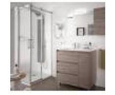 Caesaroo Mobile bagno a terra 85 cm in legno Rovere eternity con lavabo in porcellana 85 cm - Con Doppia colonna, Specchio e Lampada Led