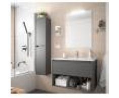 Caesaroo Mobile bagno sospeso 100 cm in legno grigio opaco con un cassetto ed un vano Con colonna, specchio e lampada LED - 100 cm