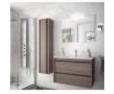 Caesaroo Mobile bagno sospeso 80 cm Nevada in legno Rovere eternity con lavabo in porcellana 80 cm - Con colonna, specchio e lampada LED