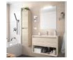 Caesaroo Mobile bagno sospeso 100 cm in legno marrone Caledonia con un cassetto ed un vano Con colonna, specchio e lampada LED - 100 cm