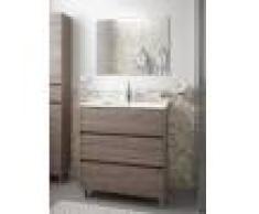 Caesaroo Mobile bagno a terra 80 cm in legno Rovere eternity con lavabo in porcellana 80 cm - Con Doppia colonna, Specchio e Lampada Led