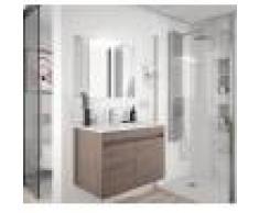 Caesaroo Mobile bagno sospeso 60 cm in legno Rovere eternity con due ante 60 cm - Con specchio e lampada LED