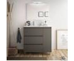 Caesaroo Mobile bagno a terra 85 cm in legno grigio opaco con lavabo in porcellana Con specchio e lampada LED