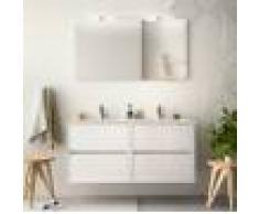 Caesaroo Mobile bagno sospeso 120 cm in legno laccato bianco lucido con lavabo in porcellana Con specchio e doppia lampada LED