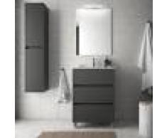 Caesaroo Mobile bagno a terra 60 cm in legno grigio opaco con lavabo in porcellana Con Doppia colonna, Specchio e Lampada Led