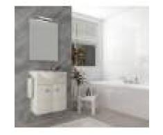 Caesaroo Mobile bagno sospeso 55 cm Holly in legno Rovere Bianco con Lavabo in ceramica Con specchio e lampada LED - 55 cm - Rovere Bianco