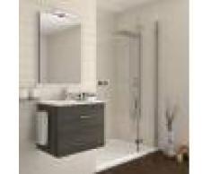 Caesaroo Mobile bagno sospeso 60 cm Holly in legno Rovere Scuro con un cassettone e Lavabo in ceramica Rovere scuro - 60 cm - Con specchio e lampada LED