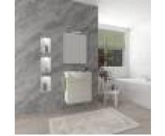 Caesaroo Mobile bagno sospeso 55 cm Holly in legno Rovere Bianco con un cassettone e Lavabo in ceramica Con specchio e lampada LED - 55 cm - Rovere Bianco
