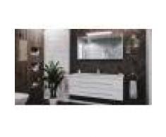 emotion Set da bagno Damo 130 Armadio a specchio & Carrara-marmo 1 foro in bianco lucido