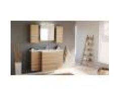 emotion Set mobili bagno Emilia premontato , armadietto a specchio a LED, rovere chiaro