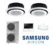 Samsung Climatizzatore Condizionatore Inverter Samsung Twin Commerciale Dual Cassetta 360° 36000+36000 Con Ac200kxa E Comando A Filo E Pannello Circolare