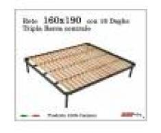 ErgoRelax Rete per materasso a 18 doghe in faggio Con Tripla Barra Centrale Matrimoniale 160x190 cm. 100% Made in Italy