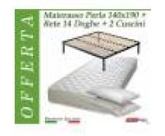 ErgoRelax Offerta Pack Tutto Compreso Materasso Perla da Cm. 140x190/195/200 + Rete Vienna 14 Doghe + 2 Cuscini - Made in Italy