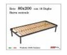 ErgoRelax Rete per materasso a 18 doghe in faggio Con Barra Centrale 80x200 cm. 100% Made in Italy