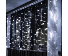 Ghirlanda LED 220V 3M a tenda 14 pendenti 140led IP44 luce Bianca