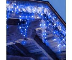 Ghirlanda LED 220v 3m a tenda 14 pendenti 140led IP44 luce Blu
