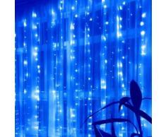 Ghirlanda LED 220v 3m a tenda 16 pendenti 320 led IP44 luce Blu