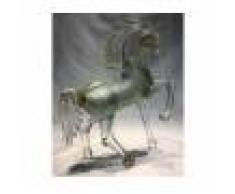"""Scultura """"Cavallo Cristallo Argento 925 Con Canna Ambra"""""""