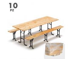 Set birreria tavolo panche legno feste sagre 220x80 3 gambe stock 1...