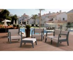 Salotto giardino resina bar tavolino cuscini 4 posti schienale rial...