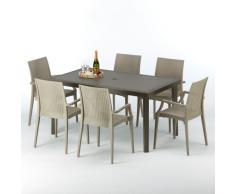 Tavolo 6 sedie rattan sintetico Polyrattan colorate 150x90 moka