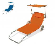 Lettino mare alluminio ruote brandina sedia tettuccio richiudibile ...