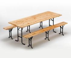 Set birreria tavolo panche legno feste giardino sagre 220x80 3 gambe