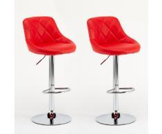 Sgabelli Coppia rosso similpelle modello bar soggiorno girevole com...