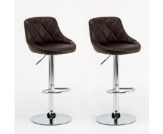 Sgabelli Coppia marrone similpelle modello bar soggiorno girevole c...