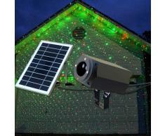 Proiettore Luce Laser Led Natale CHRISTMAS con Pannello Solare e Te...