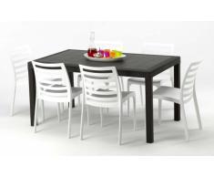 Tavolo 6 sedie rattan sintetico Polyrattan colorate 150x90 marrone