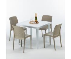 Tavolo quadrato + 4 sedie rattan sintetico Polyrattan colorate 90x9...