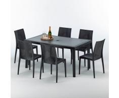 Tavolo 6 sedie rattan sintetico Polyrattan colorate 150x90 antracite
