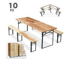 Set birreria pieghevole tavolo panche legno feste giardino sagre 22...