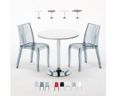 Tavolino quadrato e rotondo con 2 sedie colorate e trasparenti inte...