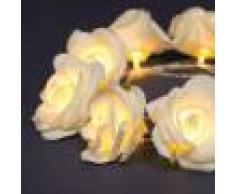 Luci Da Esterno Catena 10 rose bianco caldo, 1,35 metri, alimentazione a batteria