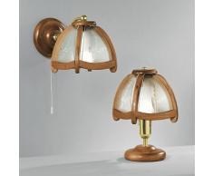 lampada parete legno con vetri