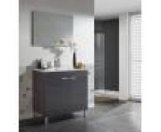 Caesaroo Mobile bagno a terra 80 cm grigio cenere con specchio e lavabo in ceramica Grigio cenere - Con lampada Led