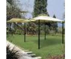 Caesaroo Gazebo 3,3x3,3 m in metallo verniciato con tendalino laterale apribile a veranda Ferro
